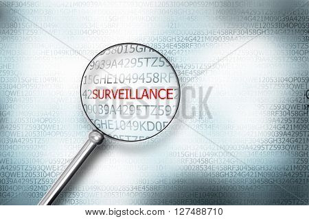 reading word surveillance digital computer screen magnifying glass internet security 3D Illustration