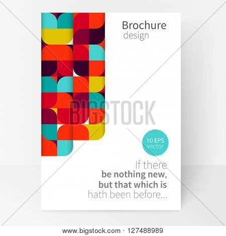 minimalistic concept business card, brochure cover, poster, template. vector stock illustration. geometric abstract background. red, blue and green squares. EPS 10