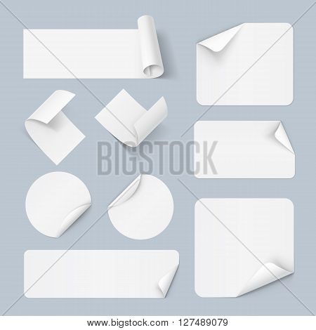 Set of white paper sticker form isolated on a background