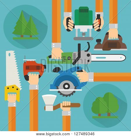 Sawmill concept design flat set .Vector illustration
