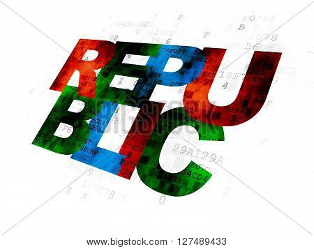 Political concept: Pixelated multicolor text Republic on Digital background