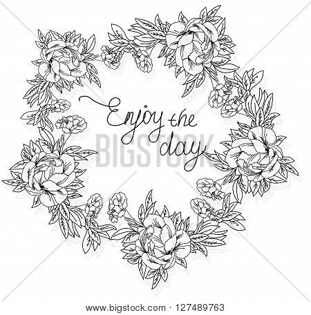 vector linear monochrome abstract background with tsvetami peonies and carnations on a white background in a circle and the words happy day,