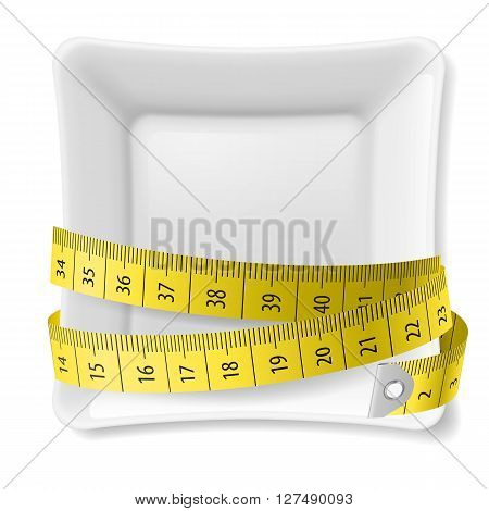 White square plate with tape measure around over white
