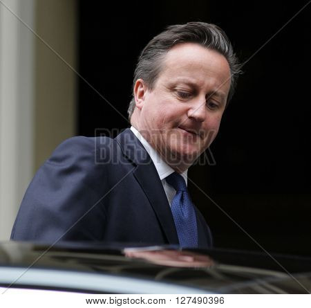 LONDON, UK - JULY 14, 2015: David Cameron British Prime Minister seen leaving Downing Street in London