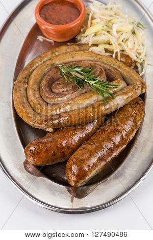 Hot Smoked Sausages On Metal Plate