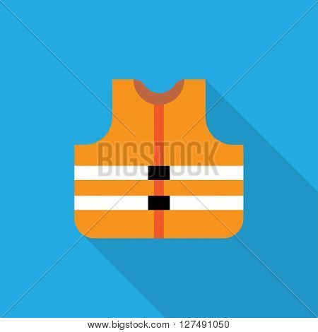 Orange safety vest icon flat style - Vector