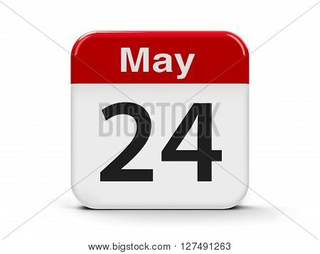 Calendar web button - The Twenty Fourth of May - The European Day of Parks three-dimensional rendering 3D illustration