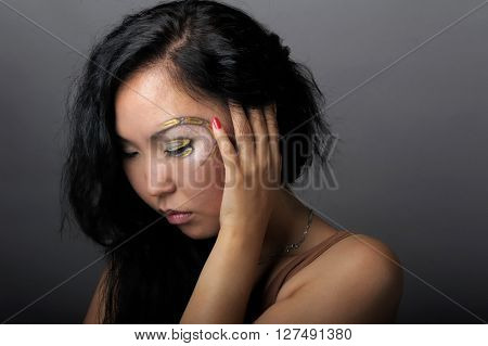 Portrait of asian woman with creative makeup