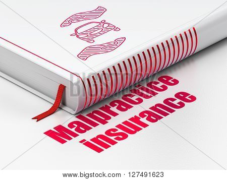 Insurance concept: closed book with Red Car And Palm icon and text Malpractice Insurance on floor, white background, 3D rendering