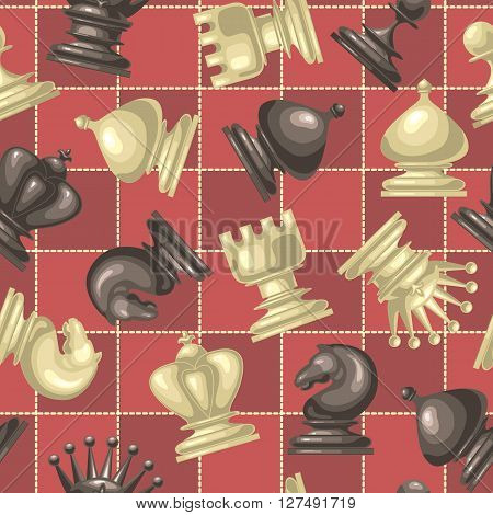 Vector seamless pattern with chess pieces on chessboard background.