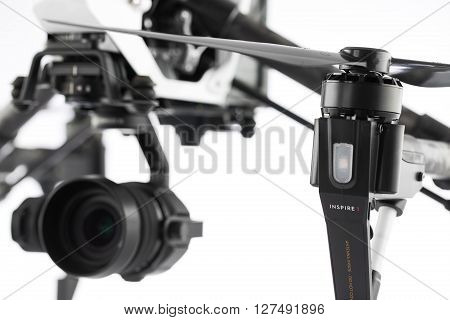 Varna Bulgaria - April 23 2016: Image of DJI Inspire 1 Pro drone UAV quadcopter which shoots 4k video and 16mp still images and is controlled by wireless remote with a range of 2km isolated on white