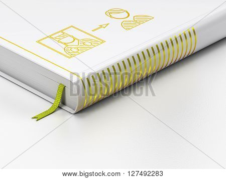 Law concept: closed book with Gold Criminal Freed icon on floor, white background, 3D rendering