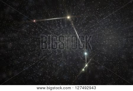 Aries ram constellation 3D illustration with colorful stars