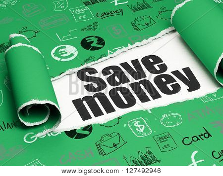 Currency concept: black text Save Money under the curled piece of Green torn paper with  Hand Drawn Finance Icons, 3D rendering