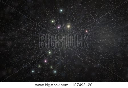 Canis major constellation 3D illustration with colorful stars