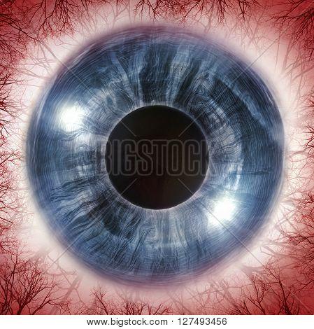 Red bloodshot eyeball for allergy imagery 3D Illustration