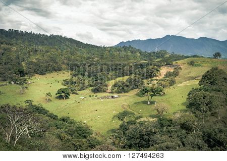 Pastoral landscapes of farms fields and mountains of Chiapas Mexico. In Ocosingo by Tonina archaeological site.