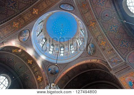 HELSINKI, FINLAND - APRIL 23, 2016: Interior of The Uspenski Cathedral with blue cupola. It is the largest cathedral in Northern and Western Europe. Located in the historical part of the city