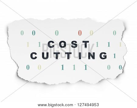 Finance concept: Painted black text Cost Cutting on Torn Paper background with  Binary Code