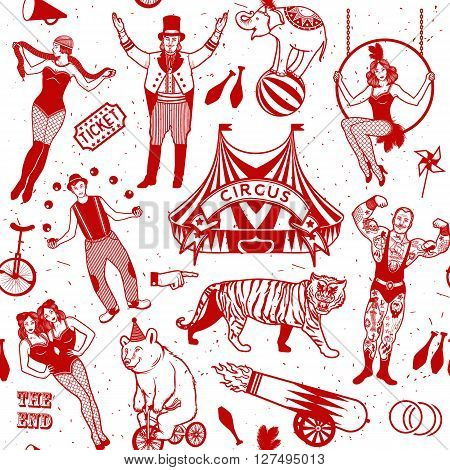 Seamless Circus Pattern.  Colorfull  collection. Vector illustration. Illustration of circus stars.