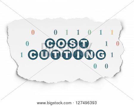 Finance concept: Painted blue text Cost Cutting on Torn Paper background with  Binary Code