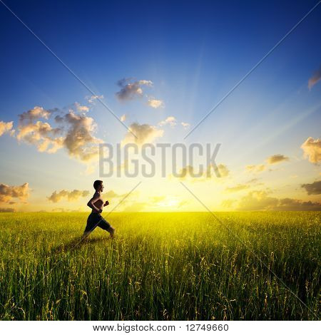 sunset and running young man