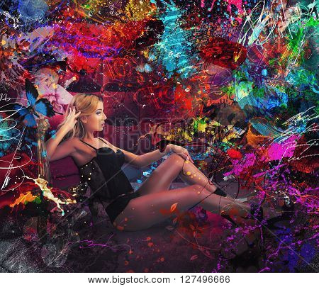 Woman in underwear with colorful background effects