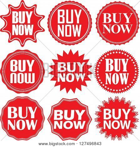 Buy Now Signs Set. Buy Now Sticker Set,  Vector Illustration