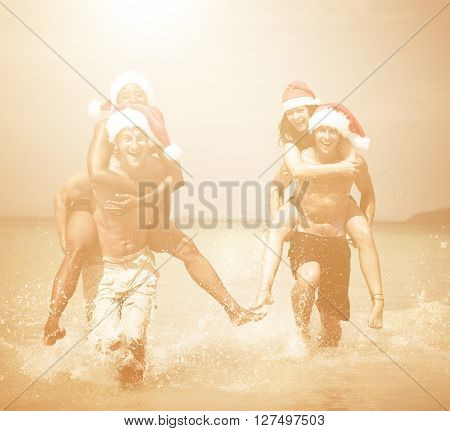Two Couple Celebrating  Beach Concept