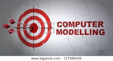 Success Science concept: arrows hitting the center of target, Red Computer Modelling on wall background, 3D rendering