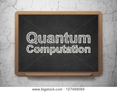 Science concept: text Quantum Computation on Black chalkboard on grunge wall background, 3D rendering