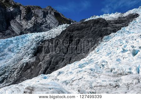 Glacier ice field on mountain side in New Zealand