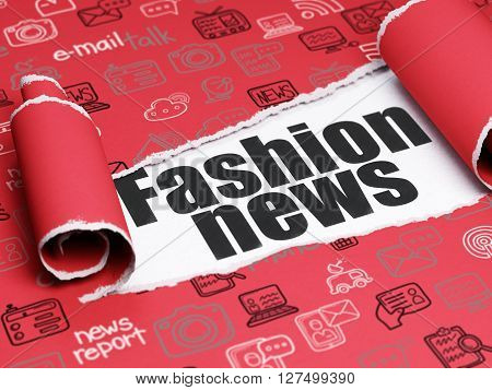News concept: black text Fashion News under the curled piece of Red torn paper with  Hand Drawn News Icons, 3D rendering