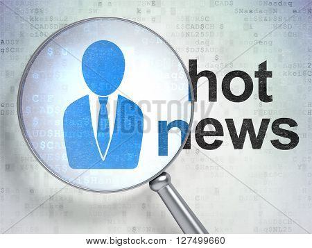 News concept: magnifying optical glass with Business Man icon and Hot News word on digital background, 3D rendering