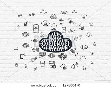 Cloud networking concept: Painted black Cloud With Code icon on White Brick wall background with  Hand Drawn Cloud Technology Icons