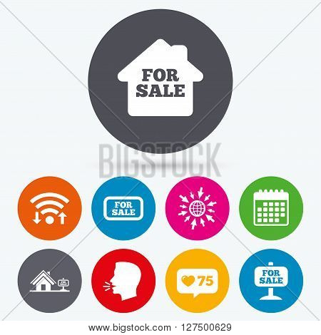 Wifi, like counter and calendar icons. For sale icons. Real estate selling signs. Home house symbol. Human talk, go to web.