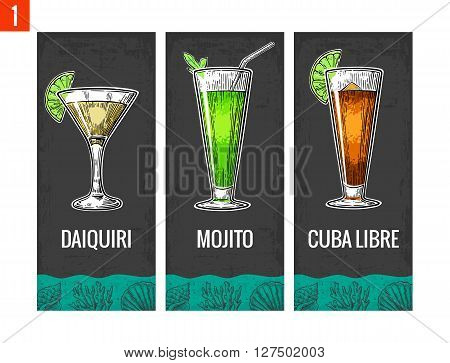 Alcohol cocktail set. Daiquiri mojito cuba libre. Vintage vector engraving illustration for web poster menu invitation to summer beach party. Isolated on dark background.