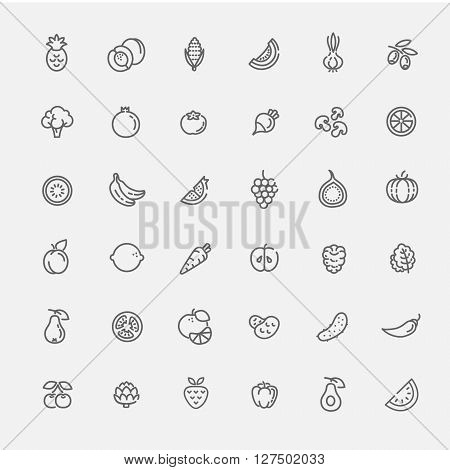 Fruit and Vegetables line icon set. Organic food