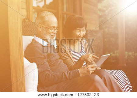 Relaxation Cheerful Couple Homestay Lifestyle Concept