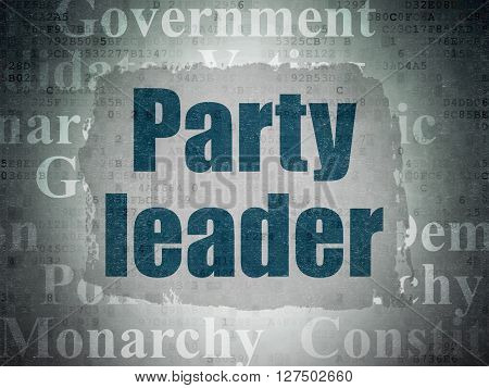 Political concept: Painted blue text Party Leader on Digital Data Paper background with   Tag Cloud
