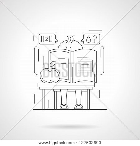 Cute pupil thinking about water molecule with big chemistry book and apple. School boy at a desk in chemistry room. Detailed flat line vector icon. Web design elements for business, site, mobile app.