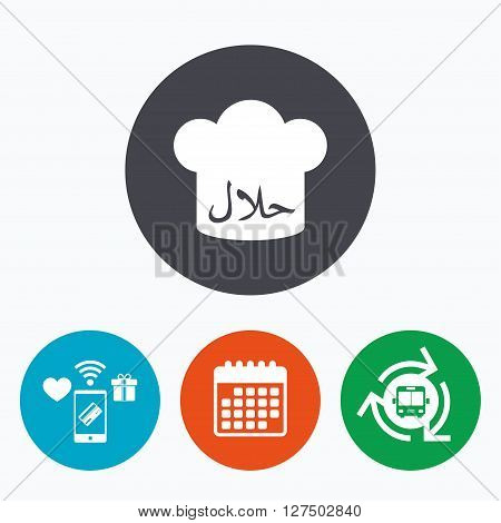 Halal food product sign icon. Chef hat. Natural muslims food symbol. Mobile payments, calendar and wifi icons. Bus shuttle.