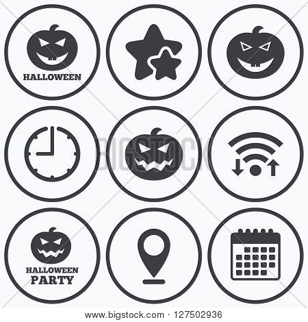 Clock, wifi and stars icons. Halloween pumpkin icons. Halloween party sign symbol. All Hallows Day celebration. Calendar symbol.