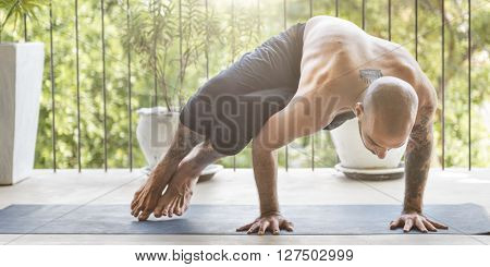 Man Yoga Practice Pose Training Concept