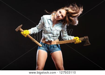 Sexy Strong Woman Feminist With Axes Working.