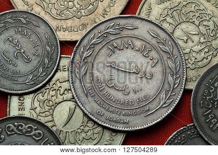 Coins of Jordan. Jordanian 100 fils coin.