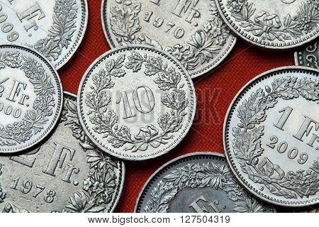 Coins of Switzerland. Swiss 10 rappen coin.