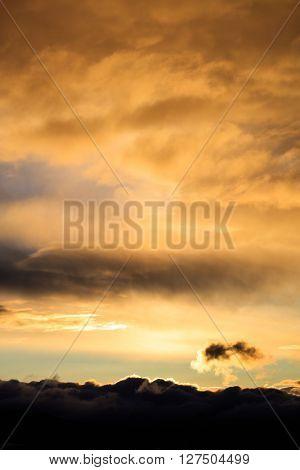 Beautiful scene of cloudy sky in twilight