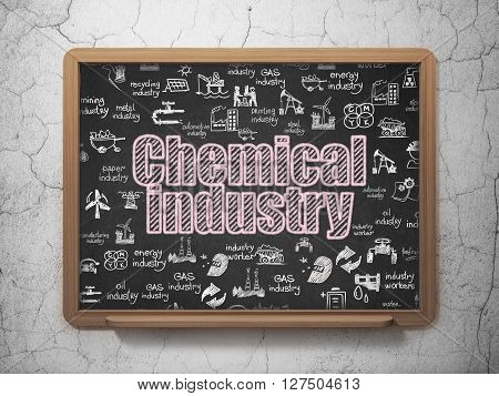 Industry concept: Chalk Pink text Chemical Industry on School board background with  Hand Drawn Industry Icons, 3D Rendering