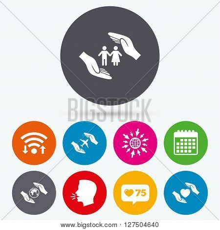 Wifi, like counter and calendar icons. Hands insurance icons. Human life insurance symbols. Heart health sign. Travel flight symbol. Save world planet. Human talk, go to web.